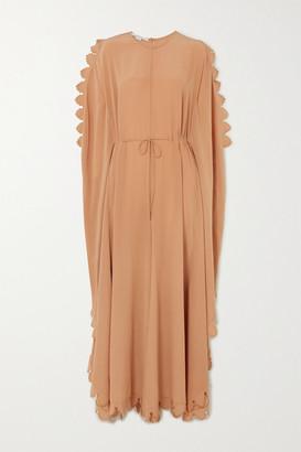 Stella McCartney Bobbi Cape-effect Scalloped Silk Crepe De Chine Jumpsuit - Camel