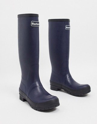 Barbour Abbey tall wellington boot with logo detail in navy