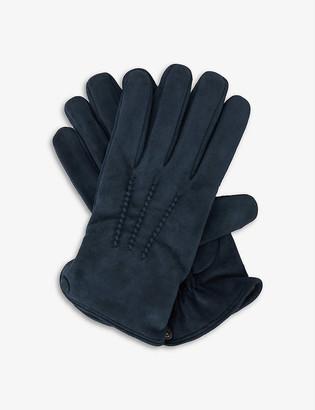 Eleventy Suede triple point-stitched gloves
