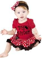 Petitebella Black Big Sister Bodysuit White Polka Dots Tutu Set Nb-18m (12-18 Months)