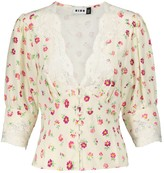 Thumbnail for your product : Rixo Amanda lace-trimmed floral blouse