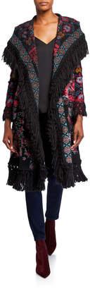 Johnny Was Krilinha Embroidered Fringe-Trim Hooded Jacket