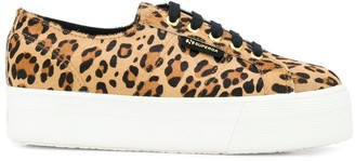Superga Leopard-Print Chunky Sole Sneakers