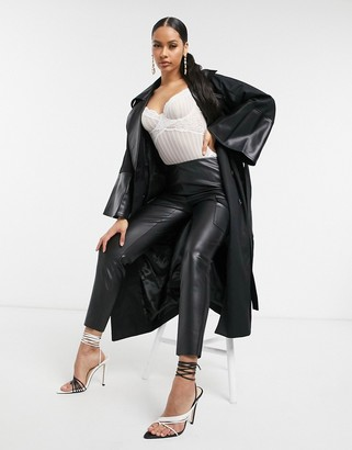 UNIQUE21 double breasted trench coat in black