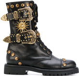 Fausto Puglisi Studded Leather Biker Boots