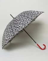 Lulu Guinness Kensington Walking Umbrella In Cut Up Logo Print