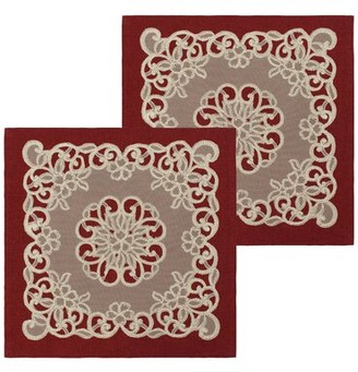Bounce Comfort Emily Lace and Embroidery Applique Pillow Cover Color: Burgundy