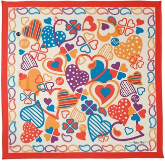 Paisley & Heart Silk Twill Square Scarf Classic Red Border