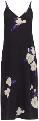 Raey Deep V-neck Floral-print Silk Dress - Womens - Navy Print