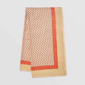 Burberry Metallic Monogram Print Cashmere Silk Scarf