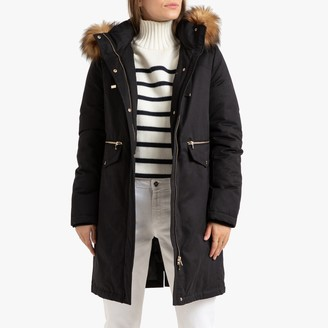 La Redoute Collections Long Water-Resistant Parka with Faux Fur Hood and Pockets