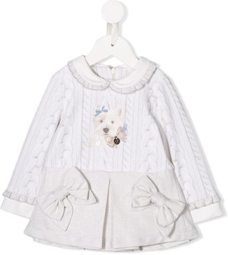 Lapin House Cable-Knit Print Dress