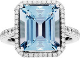 Rochester Jan Logan 18ct Aquamarine Diamond Ring
