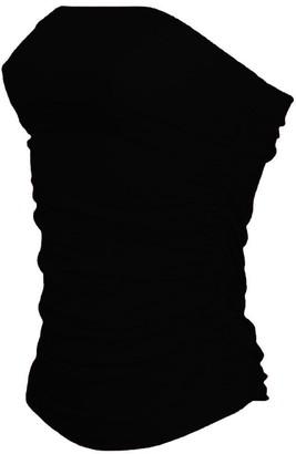 ZEE FASHION New Womens Ladies Boobtube Bandeau Ruched TOP Vest Crop Bra TOP Bralet Size 8-22 Black