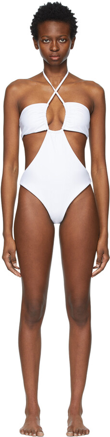 Thumbnail for your product : Rosetta Getty White Drawstring One-Piece Swimsuit