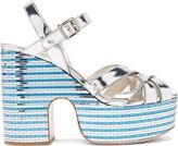 Miu Miu Crystal-embellished Leather Platform Sandals - Womens - Silver