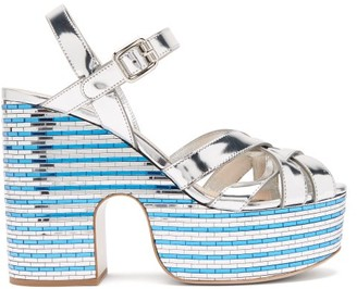 Miu Miu Crystal-embellished Leather Platform Sandals - Silver