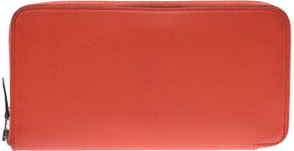 Hermes Orange Poppy Epsom Leather Silk'in Zip Around Wallet