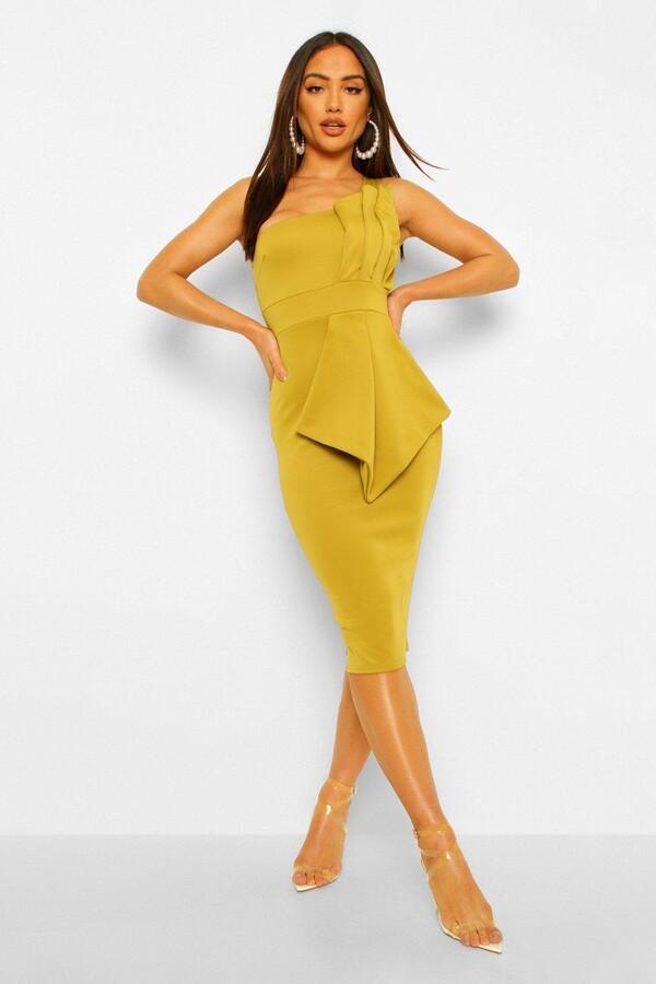 NEW RRP £45.99 Quiz yellow one shoulder midi dress IW