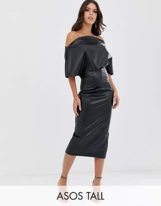 Asos Tall DESIGN Tall PU drape shoulder midi pencil dress-Black