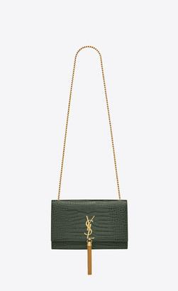 Saint Laurent Monogram Kate With Tassel Kate Medium Tassel Chain Bag In Crocodile-embossed Shiny Leather Mint Onesize