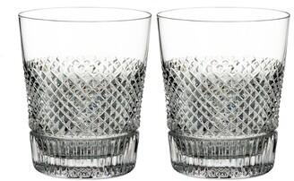 Waterford Diamond Line Set of 2 Leaded Crystal Double Old Fashioned Glasses