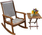 OUTDOOR INTERIORS Outdoor Interiors Resin Wicker and Eucalyptus Rocker Chair
