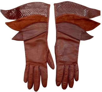 Gucci Burgundy Leather Gloves