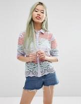 Asos Pastel Stripe Lace Print Blouse