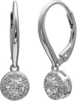 Primrose PRIMROSE Sterling Silver Cubic Zirconia Halo Drop Earrings