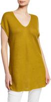 Eileen Fisher V-Neck Short-Sleeve Textured Organic Linen-Cotton Tunic Sweater