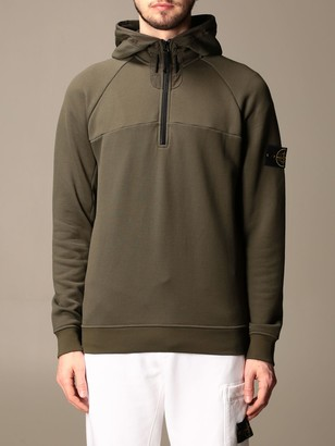 Stone Island Hooded Sweatshirt With Interrupted Zip