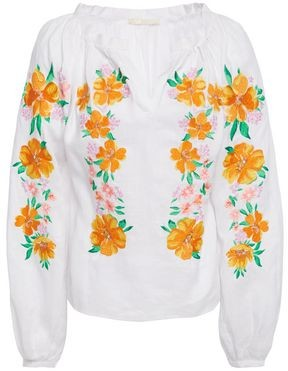 Maje Floral-embroidered Ramie Blouse