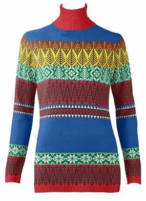 British Christmas Jumpers Women's Crazy Fairisle Eco Christmas Jumper Pullover Sweater