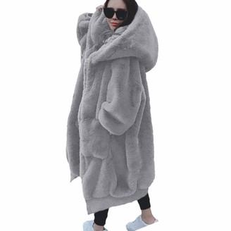 Nkjgfv Oversized Winter Faux Fur Coat Women Parka Long Warm Faux Fur Jacket