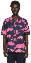 Valentino Pink and Navy Camo Shirt