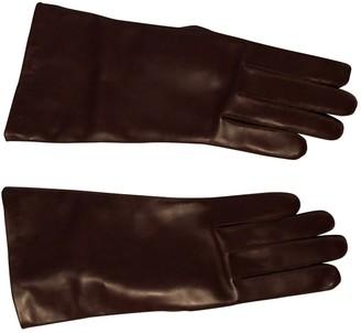 Balenciaga Burgundy Leather Gloves