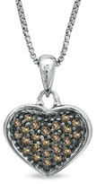 Zales 1/5 CT. T.W. Enhanced Champagne Diamond Heart Pendant in Sterling Silver with Black Rhodium Plate