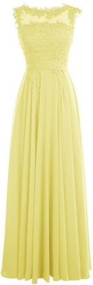 APXPF Women's Long Lace Chiffon Bridesmaid Prom Dress Evening Party Gown - Green - 10