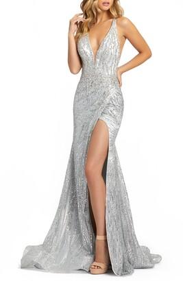 Mac Duggal Sequin Halter Neck Crossback Gown