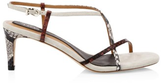 Joie Malou Python-Embossed Leather Slingback Sandals