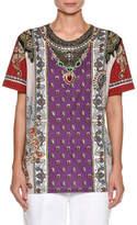 Etro Crewneck Short-Sleeve Cotton T-Shirt with Jeweled Medallion