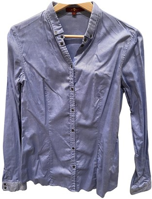 7 For All Mankind Blue Cotton Top for Women