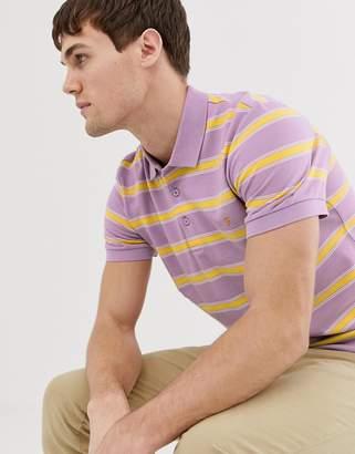 Farah Sefton slim fit textured stripe polo in lilac-Purple