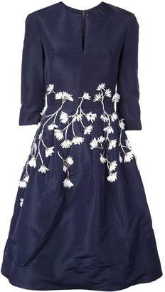 Oscar de la Renta Embroidered Cocktail Dress