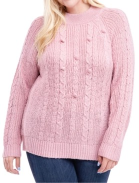 Fever Plus Size Cable-Knit Mock-Neck Sweater