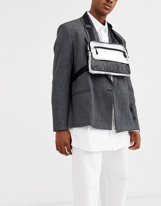ASOS DESIGN chest harness bag in silver metallic with mesh detail