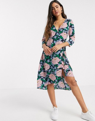 Liquorish wrap front midi dress in oversized floral print