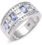 Effy Diamond & 14K White Gold Banded Ring