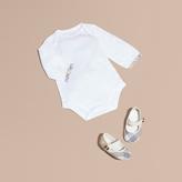 Burberry Check Detail Long-sleeve Cotton Bodysuit